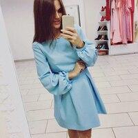 Fashion Women Dresses Long Sleeves O Neck Mini Dress Female Dress Women Clothing S Autumn Winter