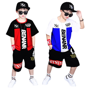 Image 2 - ילדי אימוניות 4 12Y בני בגדי Enfant tshirt + הרמון מכנסיים אופנה ילד בגדי ילדים מגניבים היפ הופ בגדי ספורט חליפה