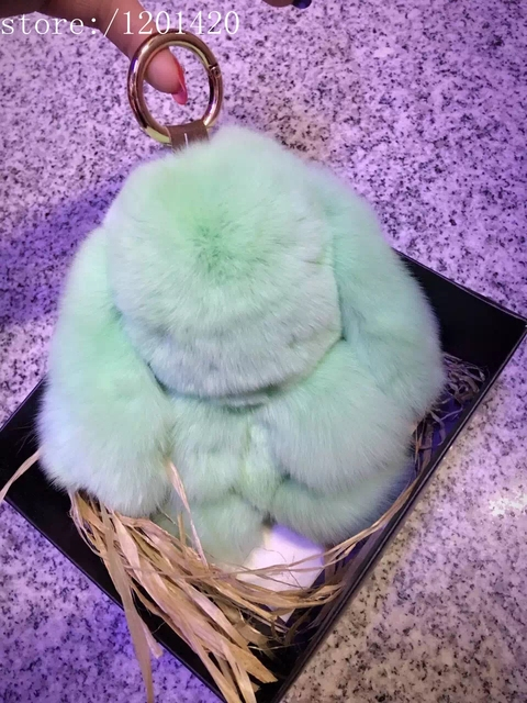 Bag Charm 100% Real Genuine Rex Rabbit Fur Keychains Handbag Backpack Pendant Bag Car Charm Tag Rabbit Bunny Toy Doll Keyring