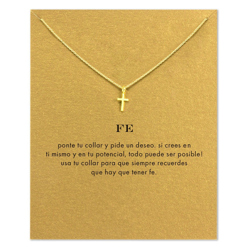 Simple Jesus Christian Cross Pendant Short Chain Choker Necklace For Women Golden wish necklace with card Jewelry As gift