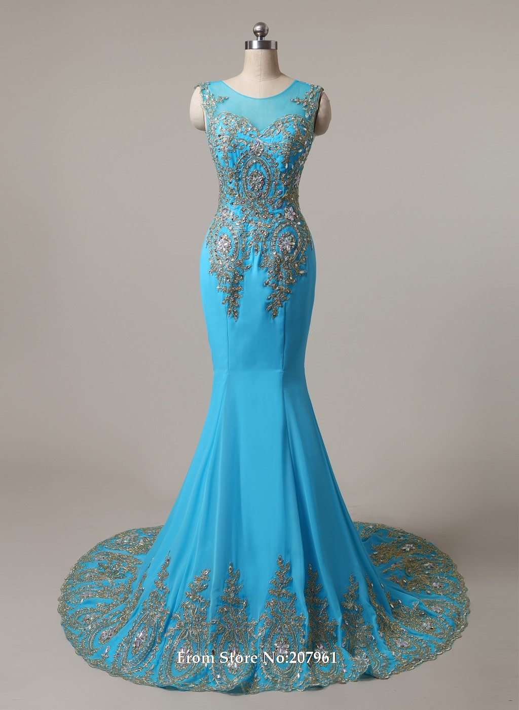100% Real Stock Sexy Turquoise with Gold Appliques Long Prom ...