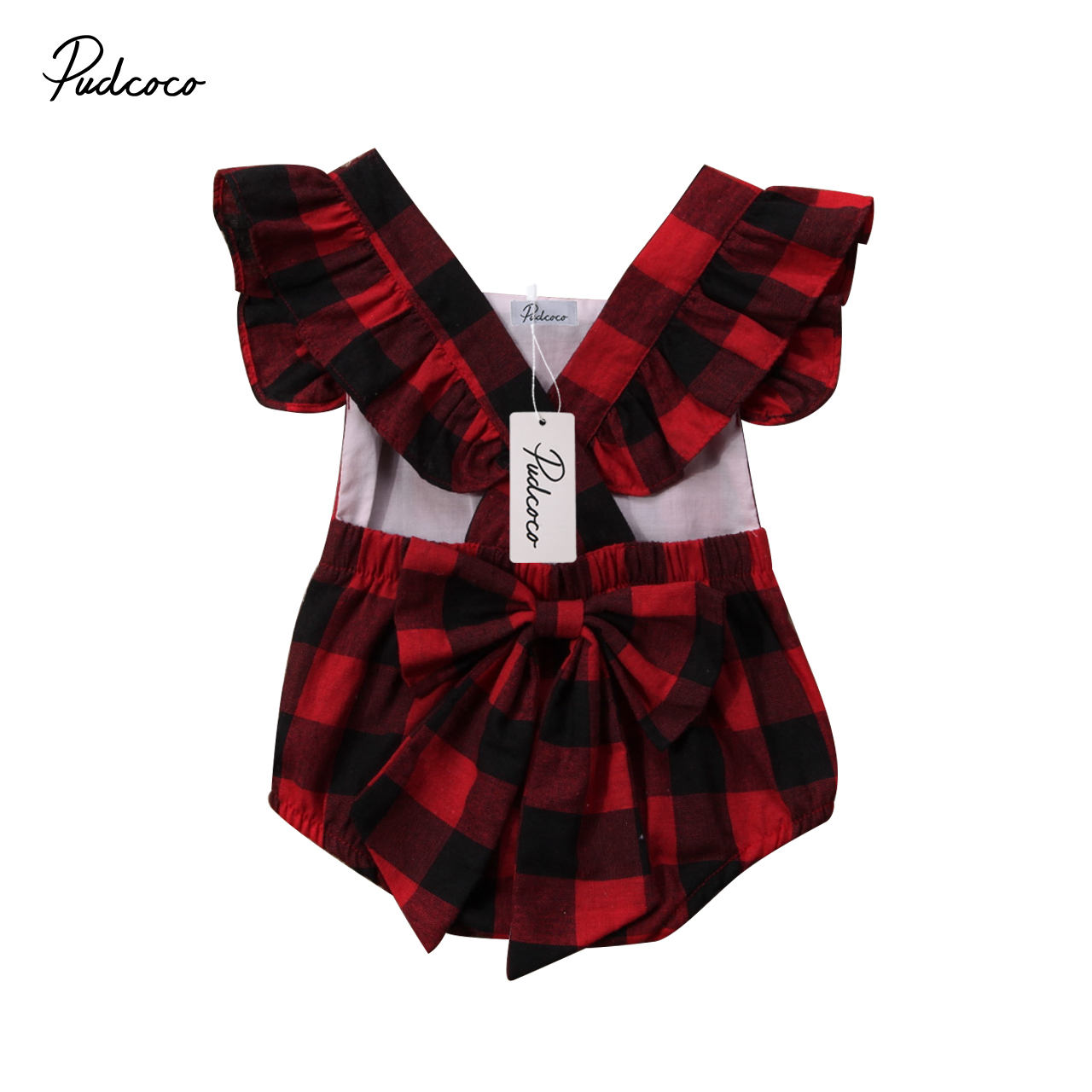 Pudcoco Newborn Sleeveless Baby Girls Bow Romper Ruffle Plaid Backless Jumpsuit Clothes Outfit Cotton One-Piece 0-18M pudcoco newborn baby girl clothes 2017 summer sleeveless floral romper backless jumpsuit sunsuit children clothes