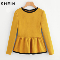 SHEIN Contrast Binding Textured Peplum Top Autumn Blouse Tops For Women Yellow Long Sleeve Casual Women
