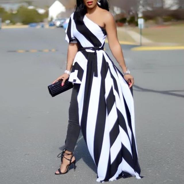 72c20f207 Las mujeres 2019 de moda de verano Casual elegante camisa de fiesta mujer  hombro contraste rayas
