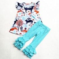 Aiqqwit新しいスタイル女の赤ちゃんフラッタースリーブトナカイプリントトップ固体パンツ卸売クリスマスフリルブティック扮用ギ