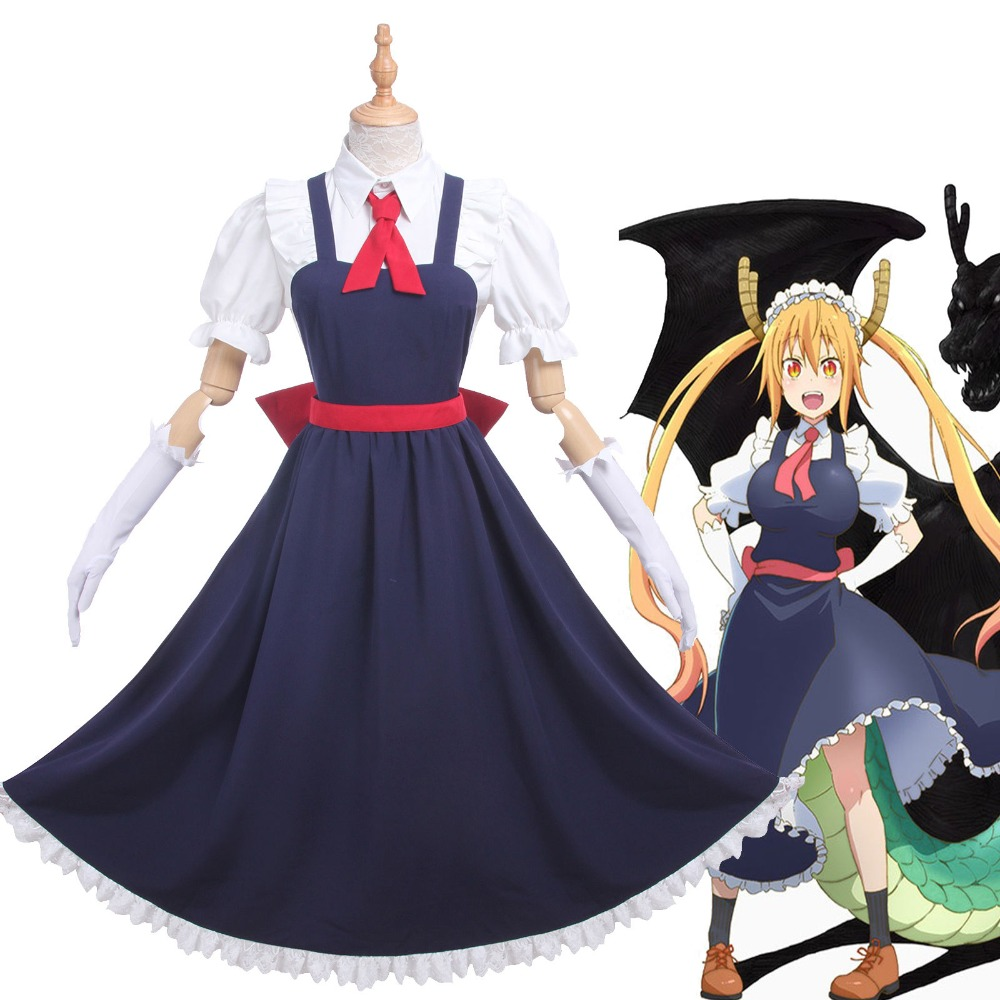 Anime Kobayashi-san Chi no Miss Kobayashi's Dragon Maid Loli Tohru Dress Cosplay Costume Outifit Maid Lolita Dress