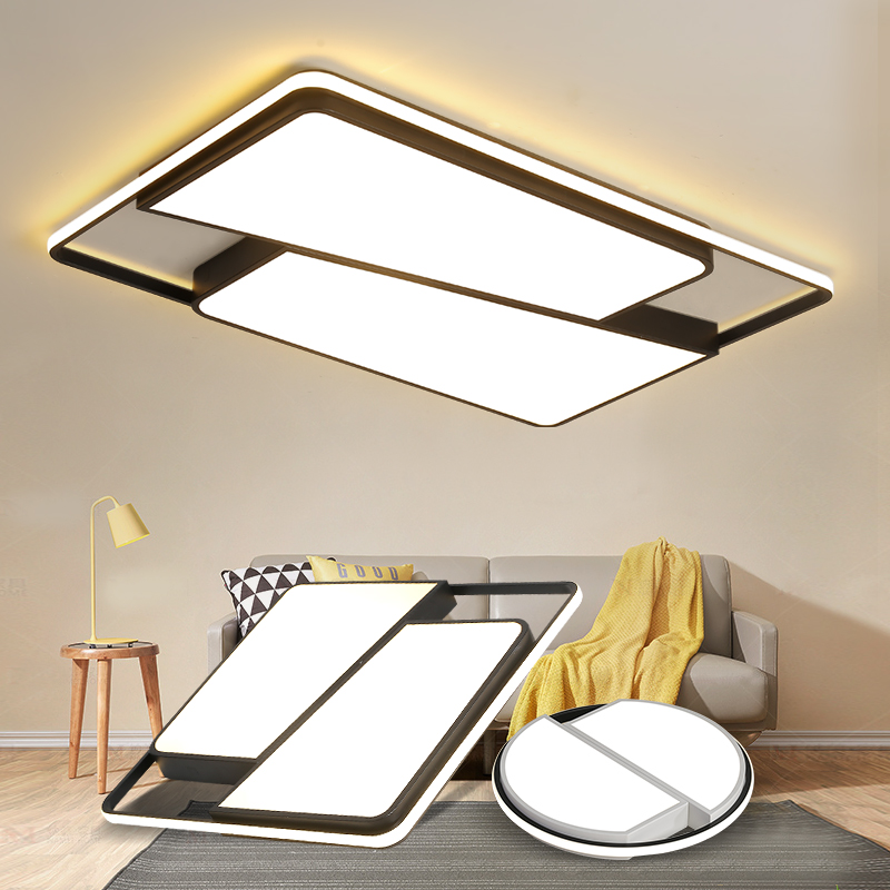 Round Square LED Ceiling Lights For living room lights Bedroom Home White and Black Iron Acrylic