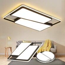 Круглый/квадратный светодиодный потолочный светильник для гостиной, белый и черный железный + акриловый современный светодиодный потолочный светильник