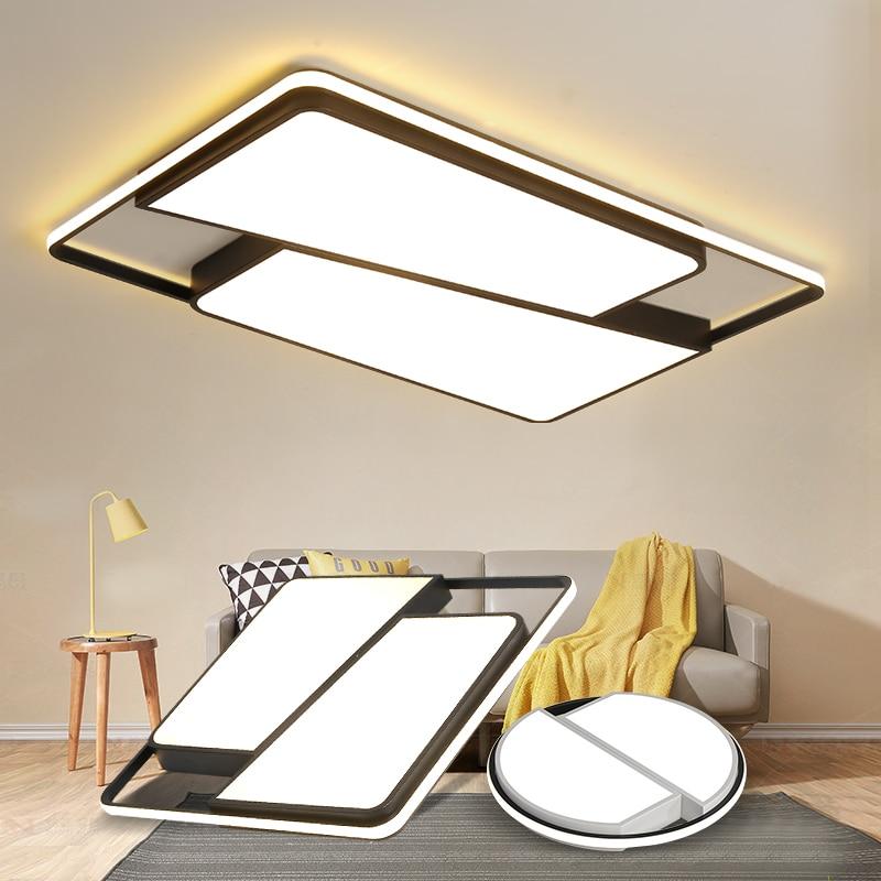 купить Round/Square LED Ceiling Lights For living room lights Bedroom Home White and Black Iron+Acrylic Modern Led Ceiling Lamp Fixture по цене 5630.19 рублей