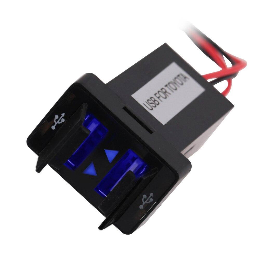 Dual USB Car Charger Wasserdichte USB2.1A Netzteil Buchse Für TOYOTA 2 Hafen Ladebuchse Armaturenbrett Für Ipad Samsung