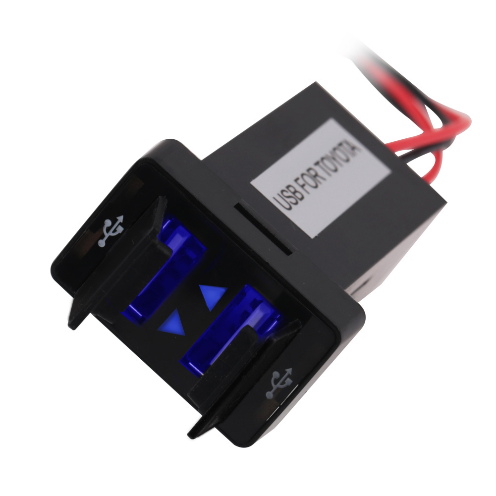 цена на Dual USB Car Charger Waterproof USB2.1A Power Adapter Socket For TOYOTA 2Port Charge Socket Car Dashboard For Ipad Samsung