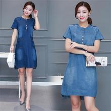 Early autumn new women's denim dress short-sleeved loose A word dress plus large S-4XL V-neck solid denim dress T462