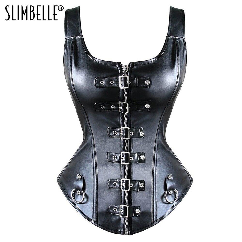 Women Steampunk Gothic Black Leather Overbust   Corset     Bustier   Top Zip Buckle Waist Cinchers   Corsets   Dress Waist Trainer Plus Size
