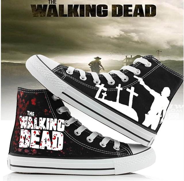 The Walking Dead Mode Toile Chaussures Femmes Hommes Casual Haute,Top  Étoiles Plat Chaussures D
