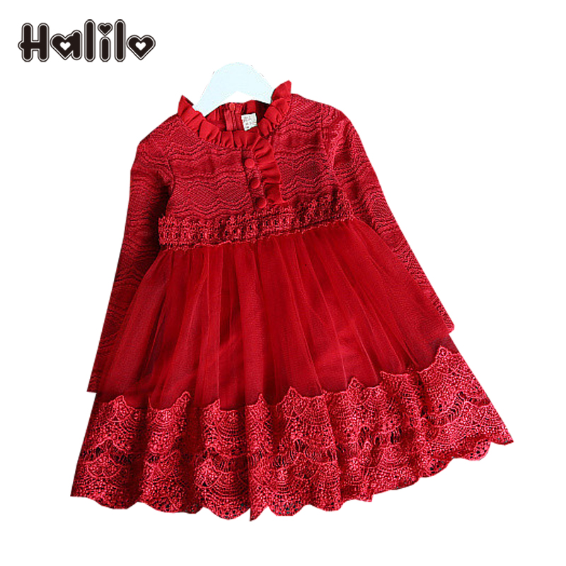 Halilo New Girls Long Sleeve Dress European Children Clothing Lace Girls Autumn Dresses Kids Clothes Tutu Dresses For Toddlers acthink 2017 new girls formal solid lace dress shirt brand princess style long sleeve t shirts for girls children clothing mc029