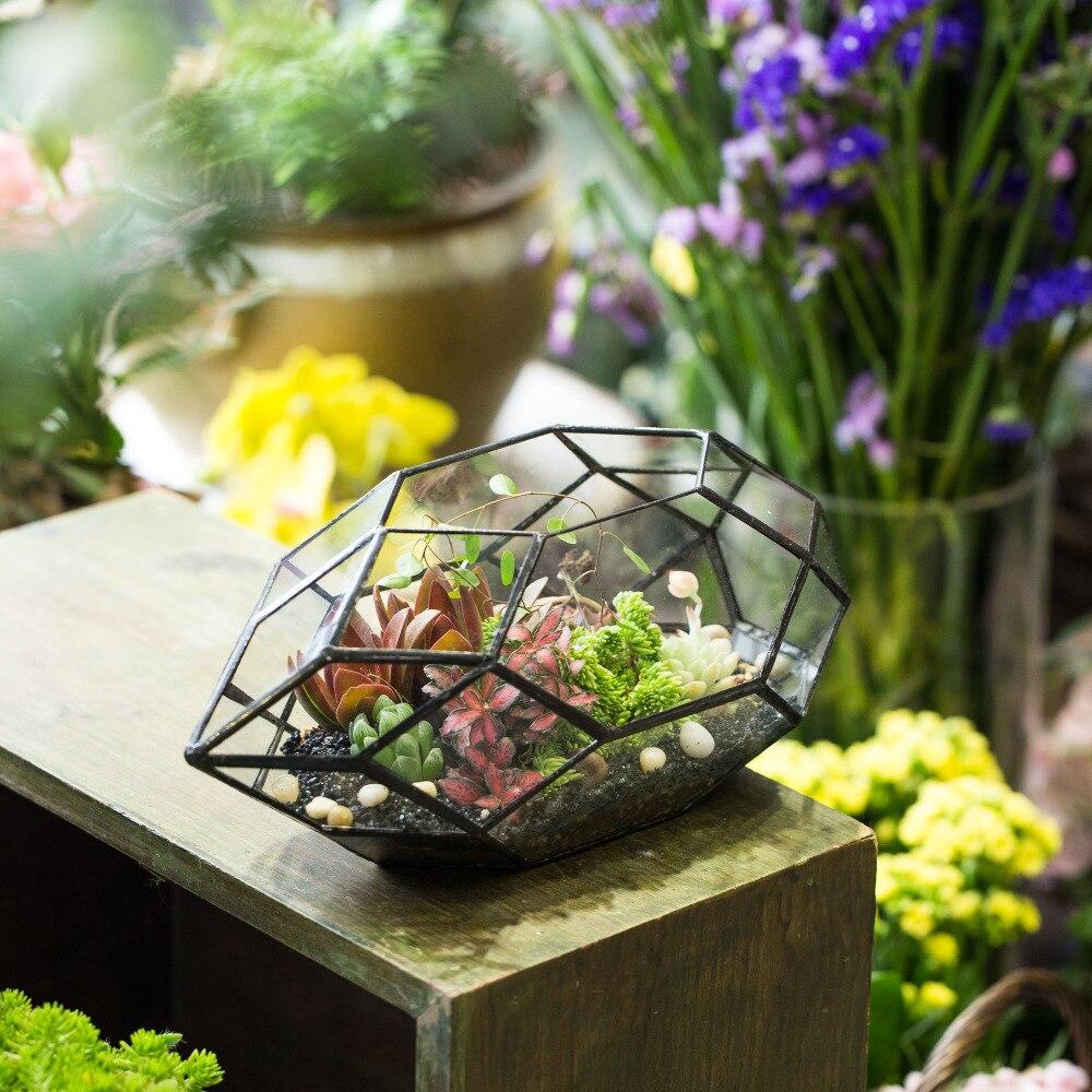Fait à la main grande irrégulière polyèdre géométrique verre Terrarium boîte lanterne succulentes planteur Air plantes titulaire bonsaï pot de fleur