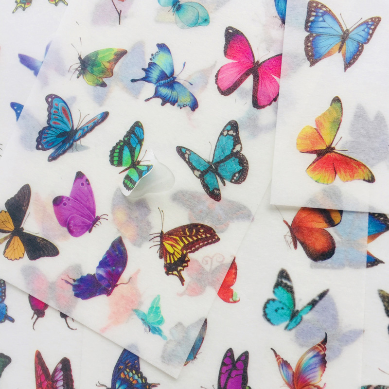 6 Sheets Elegant Butterfly Washi Paper Decorative Stickers Stationery Computer Decoration