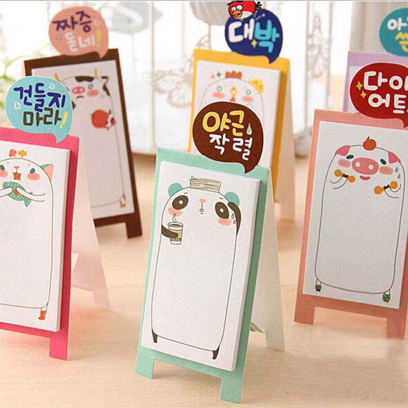 Cute Planner Stickers Kawaii Animal Memo Pad Paper Sticky Notes Stand Notepad Post It Stationery Papeleria School Supplies K7481
