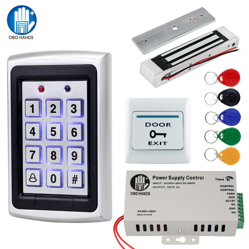 OBO Hands Access Control System Kit 125KHz RFID Keypad Rainproof Cover With Electric Door Locks 180KG Magnetic Strike Lock DC12V