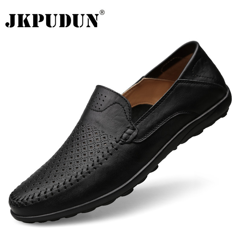JKPUDUN Italian Casual Luxury Brand Summer Genuine Leather
