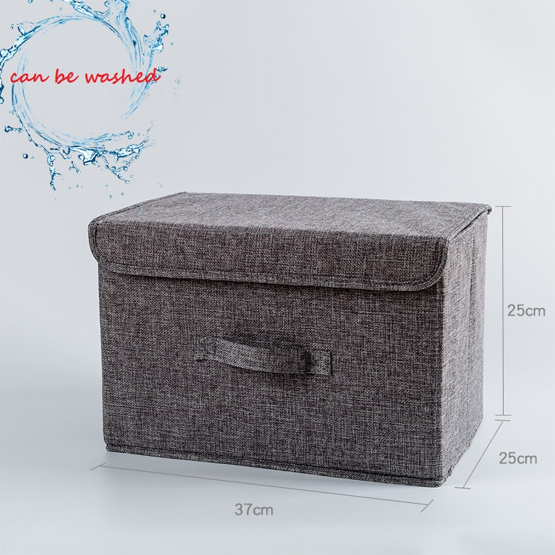Cotton Linen Fabric Folding Cd Storage Boxes Foldable Bins