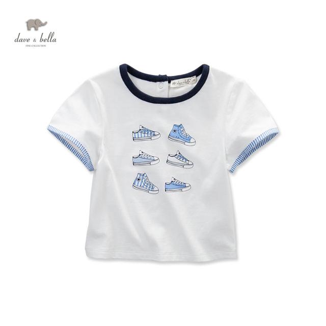 DB3555 dave bella bebê verão menino impresso camiseta de algodão menino roupas infantis toddle tees meninos tops crianças t-shirt