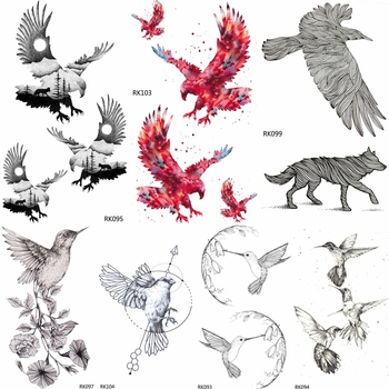 OMMGO DIY Bald Eagle Black Birds Temporary Tattoos Sticker Waterproof Custom Tato Hummingbird Small Body Art Fake Tattoo Women image