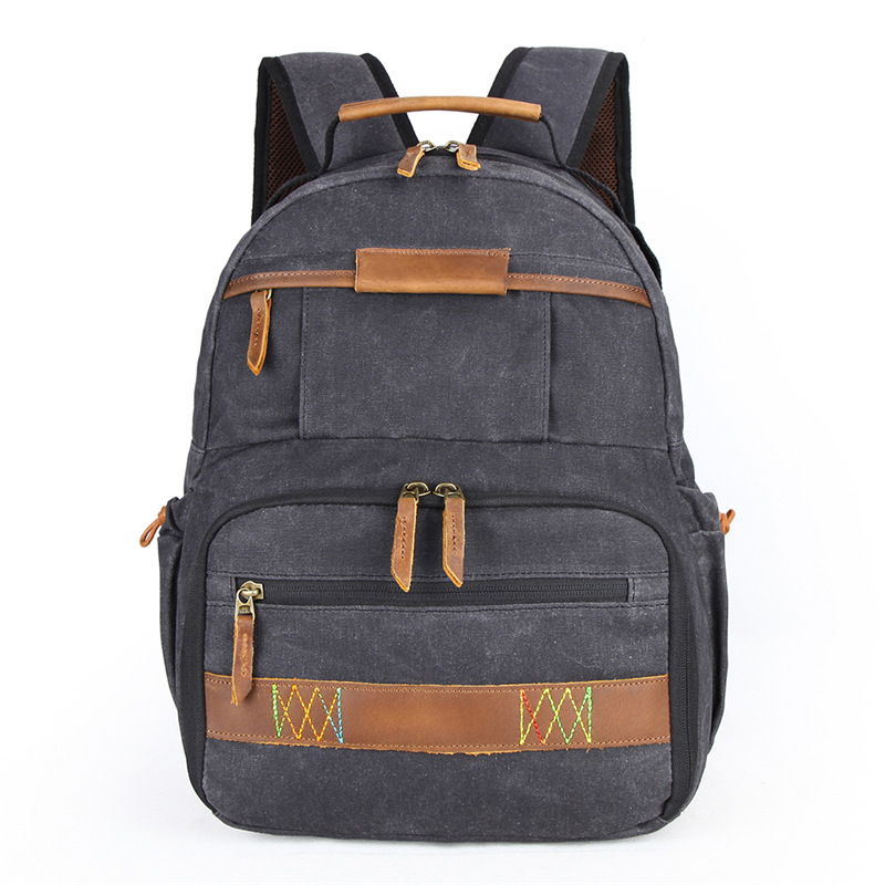 Waterproof Batik Canvas Retro Camera Backpack Durable Photographer Padded Photo Bag for Canon Nikon Sony DSLR
