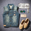 New Arrival Slim Sleeveless Men Jeans Jackets Vintage Casual Solid Mens Vest Coat High Quality Jacket Men Denim Vest #HXA005