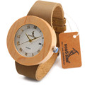 BOBO BIRD C06 Bamboo Wooden Watches Ladies Casual Antique Round Quartz Wood Watch with Real Leather Strap as Gift relojes mujer
