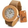 Bobo bird c06 bambu de madeira relógios ladies casual rodada antigo relógio de quartzo De Madeira Relógio com Pulseira De Couro Real como Presente relojes mujer