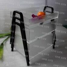 3 шт./лот) один Lux стекируемые тумана акриловые корзина с фруктами, perspex вложенности конфеты Организатор, матовый Lucite Поднос V ноги