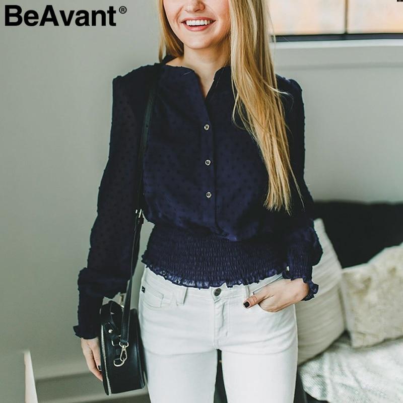 BeAvant Vintage long sleeve   blouse   women 2019 Smocking high waist chiffon   blouse   ladies O neck feminine   blouse     shirt   top female