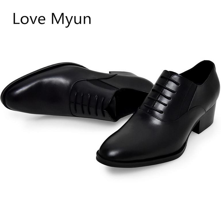 New mens genuine leather dress shoes high heels fahsion round toe lace up oxford wedding shoes