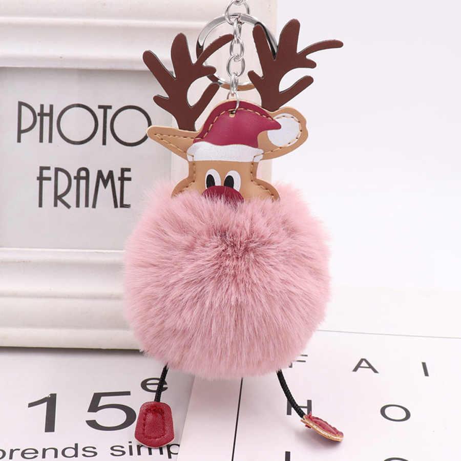 Рождественский помпон брелок Кожаный Олень мех Санта Клаус Шарм Сплав автомобильный мешок брелок держатель женская модная Ювелирная подвеска подарок