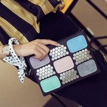2016 New patchworek summer fashion patchwork women bags messenger bags rivet designer women handbags small lady crossbody bag