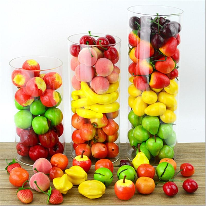 Hot 20Pcs/Set Plastic Simulation Artificial Model Props House Party Mini Fake Fruit  Apple Pear Lemon Strawberry Cherry Banana