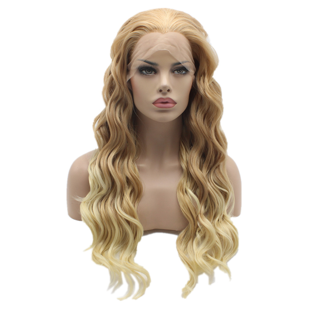 K06 Brown Root To Light Blonde Ombre Color Wavy Synthetic Lace Front Stylish Heavy Density Heat Resistant Kanekalon Women Wigs k19 16 wavy brown gradient light blonde white ombre color synthetic lace front wigs heat resistant heavy density kanekalon wigs