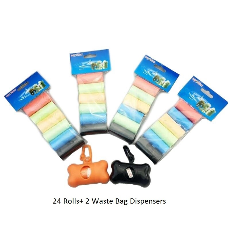 12Rolls/24Rolls/42 Rolls Colorful Dog Poop Bags + Dispenser Pet Poo Bag Holder Dog Waste Bag Dispenser Pet Garbage Bag