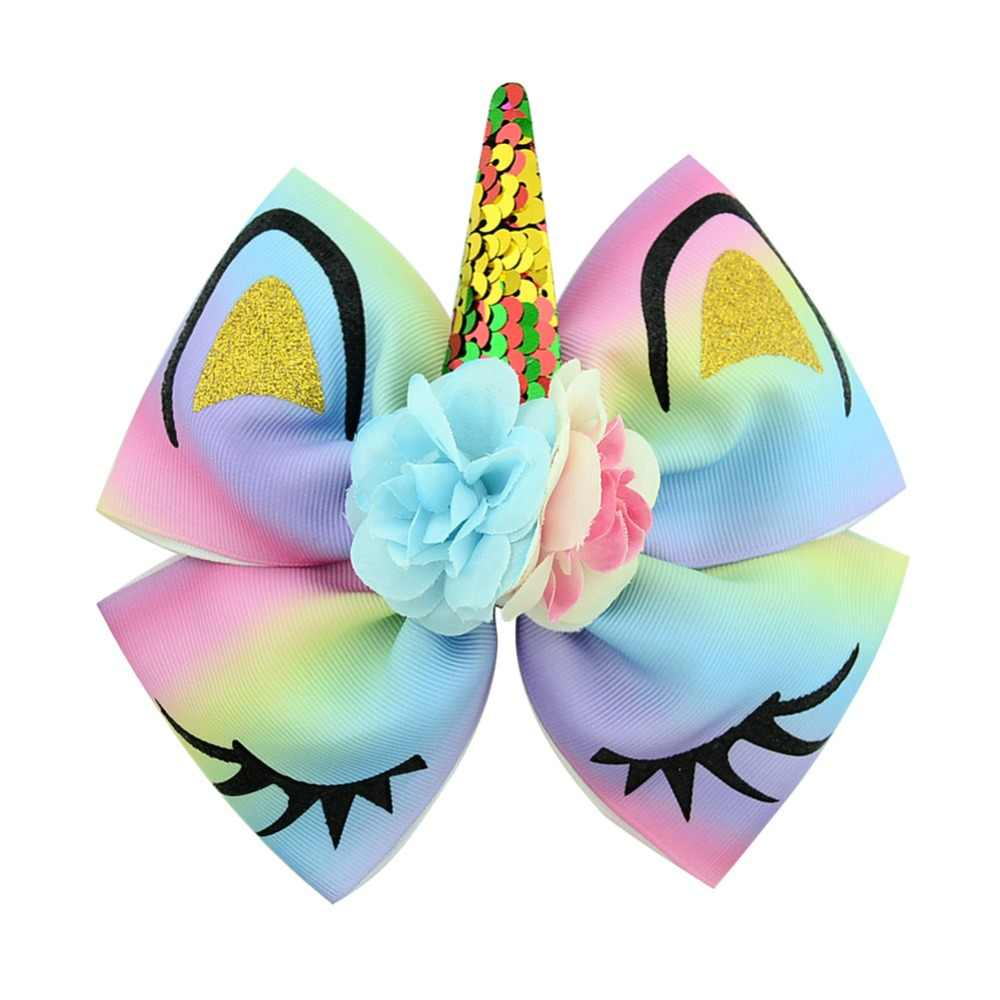 1piece High Quality Bow With Cute Ear Design Hair Clip Ribbon Bow With Unicorn Horn Hair Accessories 885