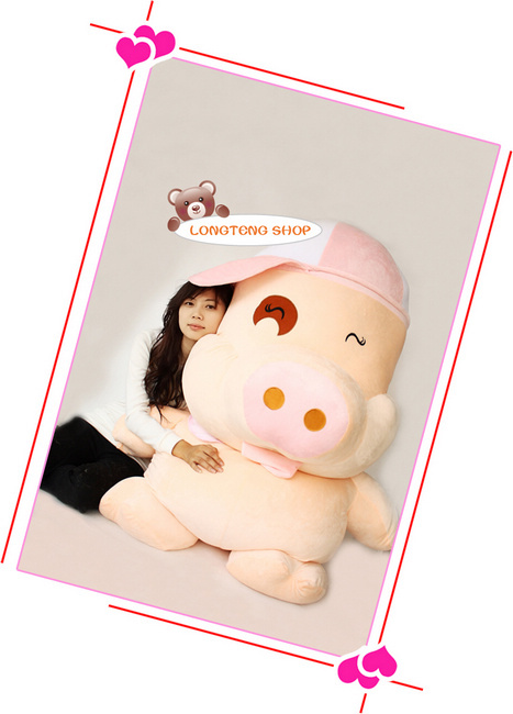 cartoon mcdull pig with pink hat plush toy large 100cm pig soft hugging pillow, Christmas birthday gift F038 plush toy happy stuffed pig with a hat