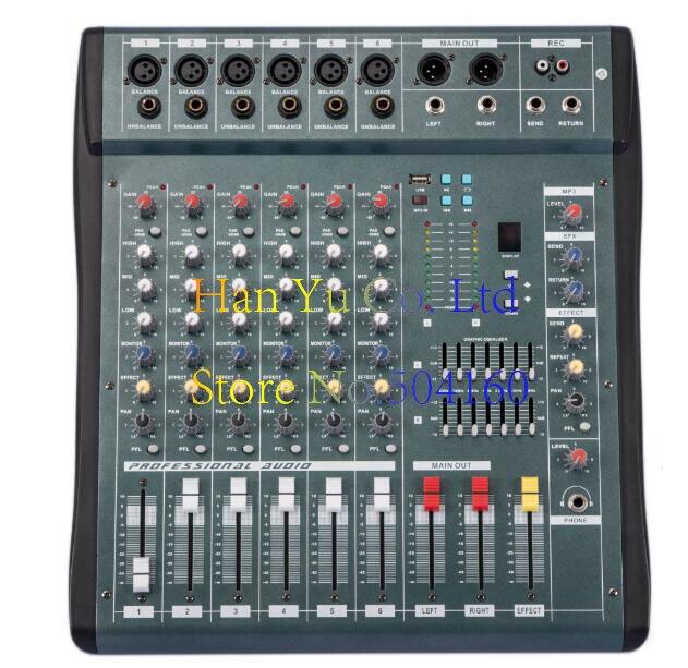 Audio Mixer 6 Channel Powered Mixing Console DJ Mixer Mezcladora De DJ Mikser Mischer MX606-USB