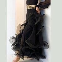 Women Lady Ballroom Dance Skirt Fish Bone Long Dress For Waltz Tango Foxtrot Dancing Performance Half Skirts 7 Colors ZH4002