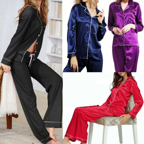 Stylish Summer Women's Solid   Pajamas     Sets   Button Long Sleeve Loose T-shirt Top and Silk-like Satin High-waist Long Pants S-XL