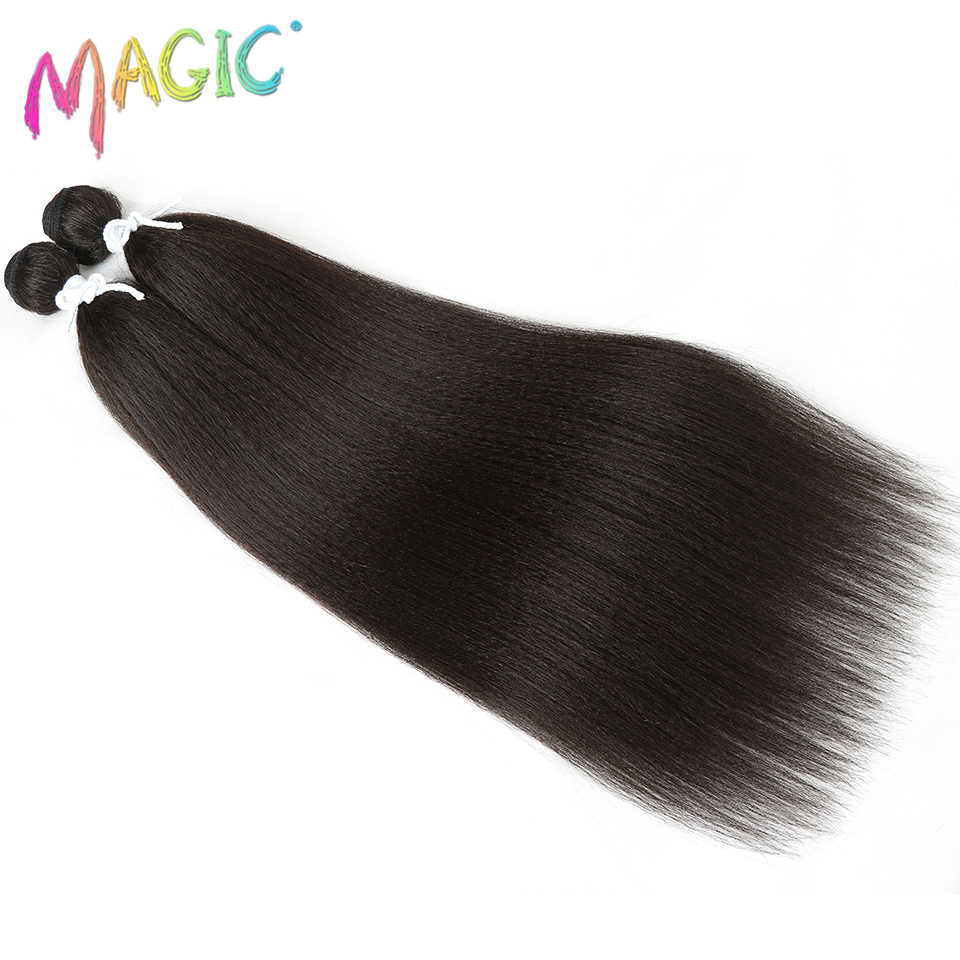 Magia sintético recto armadura 2 unids/lote Natural Yaki paquetes de pelo negro del pelo que teje de 22 pulgadas de alta temperatura de fibra