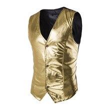 Золотой блестящий жилет для мужчин бренд ночной клуб с металлическим покрытием мужской жилет сценический Свадебный хост однобортный жилет для мужчин