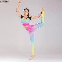 Комплект из 2 предметов для йоги, бесшовный для спорта, одежда для женщин, Радужный цвет, Модный комплект для йоги с коротким рукавом, спортивная одежда для спортзала фитнеса