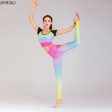 2 piece yoga set Seamless Workout Clothes For Women Rainbow color fashsion Short Sleeve Yoga Set Sportswear Gym Fitness Outfit women yoga set tai chi kungfu meditation uniforms linen chinese traditionl loose wide yoga pant yoga shirt casual outfit set