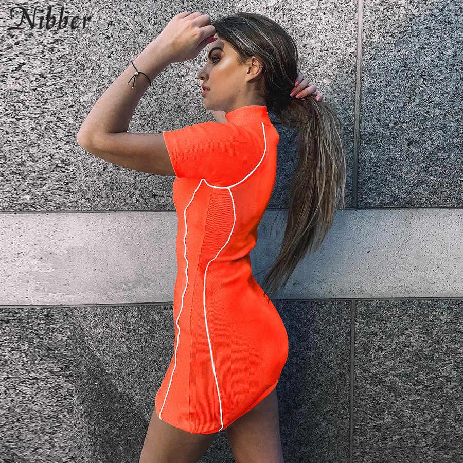 Nibber/хит продаж, женские мини-платья со светоотражающими полосками, весна-лето 2019, новое однотонное вязаное платье в рубчик с коротким рукавом, базовые повседневные Клубные вечерние платья