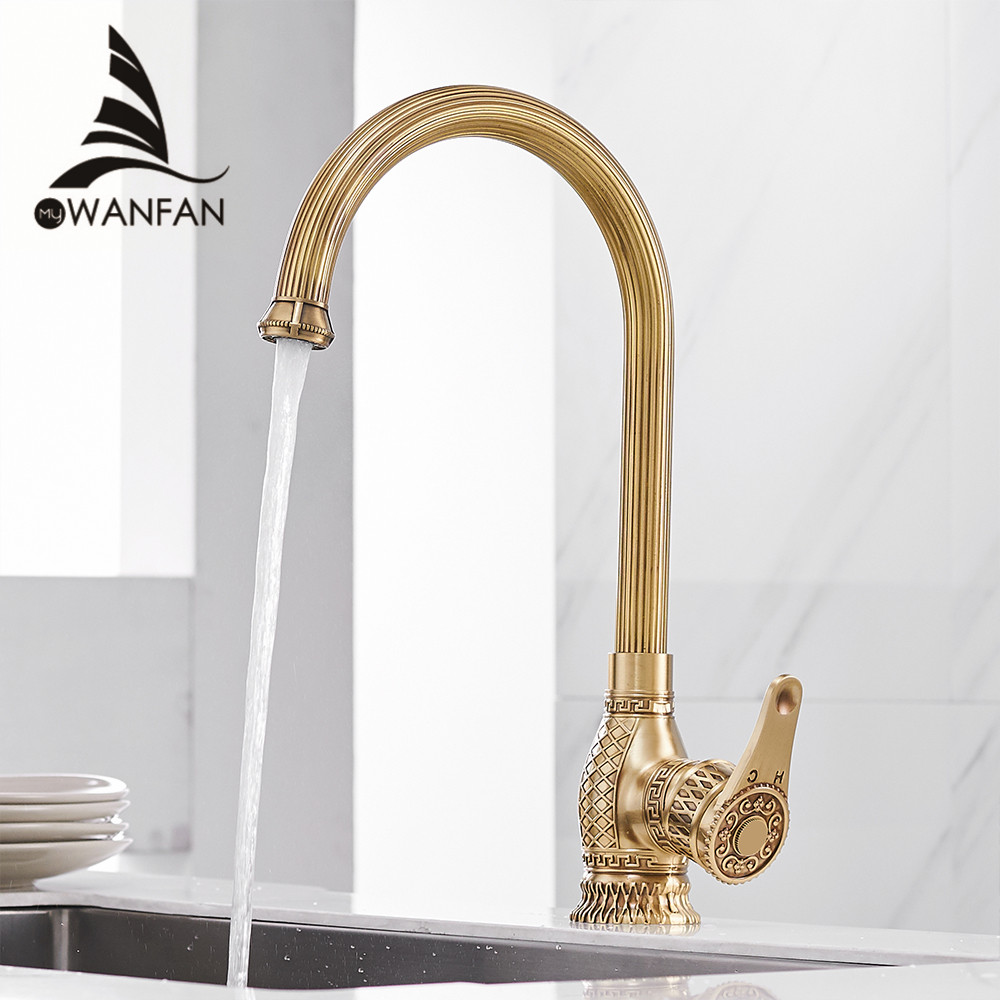 Kitchen Sink Faucets Retro Brass Antique Bronze Single Handle Kitchen Basin Faucets Deck Mounted Hot&Cold Water Mix Tap WF-6826